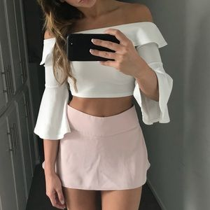 blush light pink chiffon skirt skort